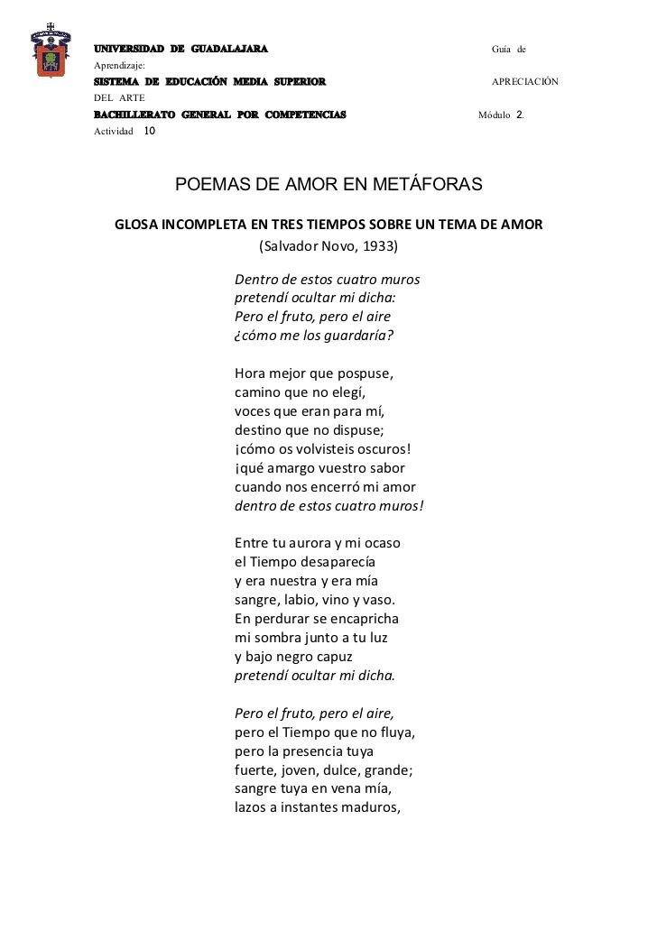 Metafora De Amor En Poemas