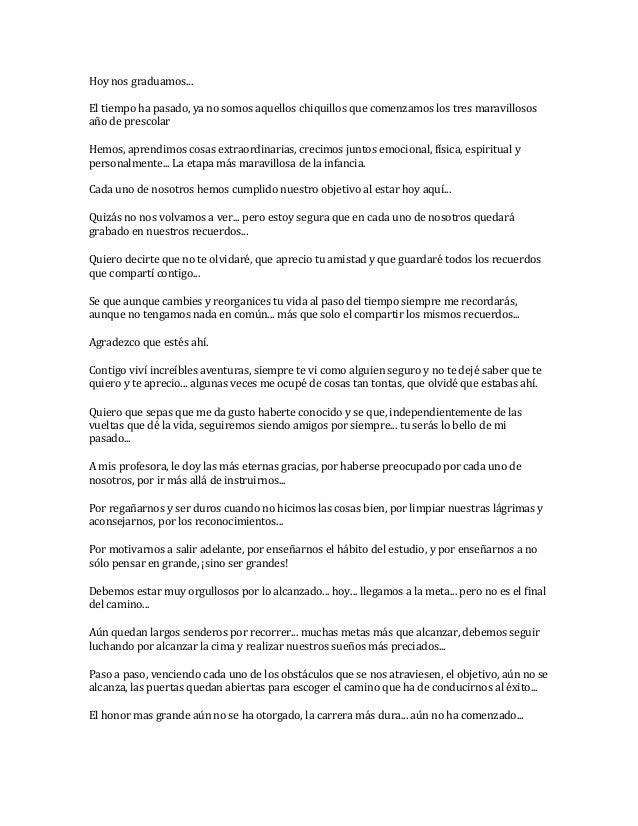 Poemas de graduacion for Cancion adios jardin querido