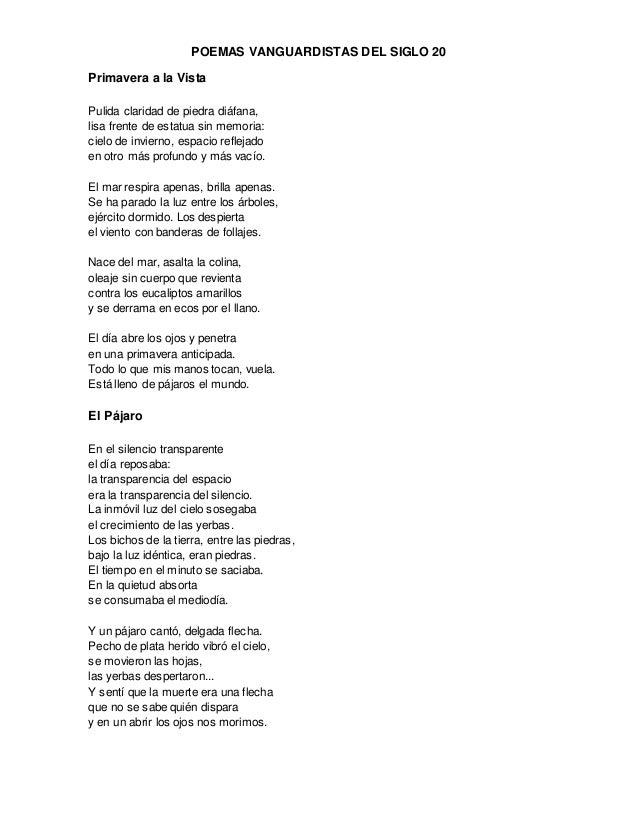 poemas vanguardistas