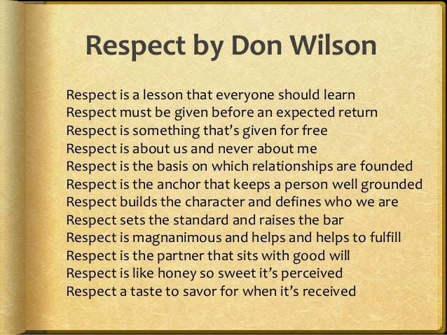 respect in relationships essay Some nurse–patient relationships, such as the one in this example, last only a few hours others, however, may last days box 5-1 ways to show respect.