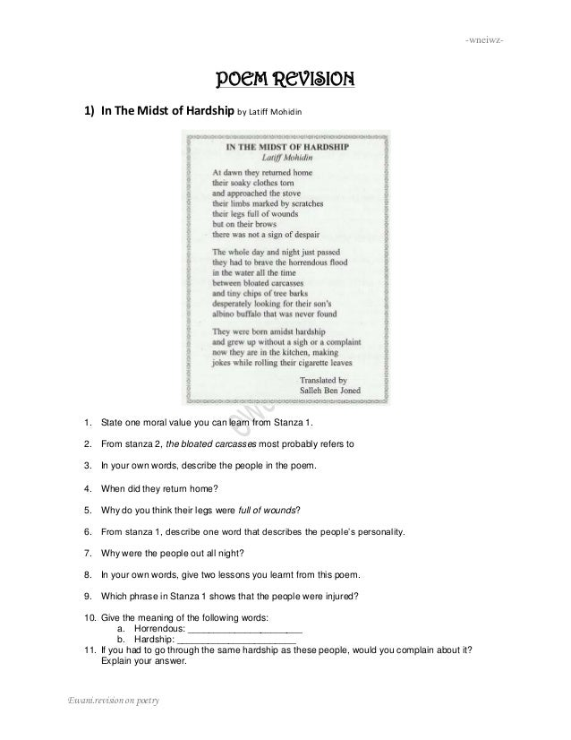 SPM Poem revision
