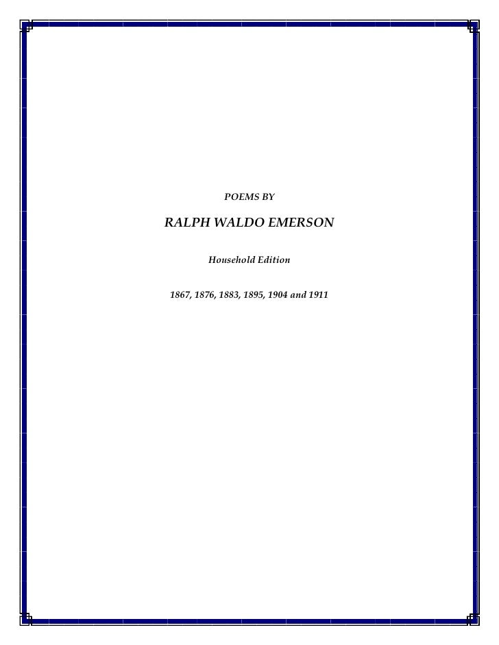 Poems By  Ralph  Waldo  Emerson