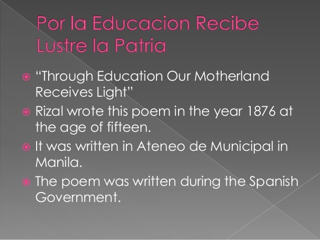 "the intimate alliance between religion and good education rizal Poems of rizal sa aking mga kabata ""the intimate alliance between religion and good education"" poem he wrote to show the important relationship between."