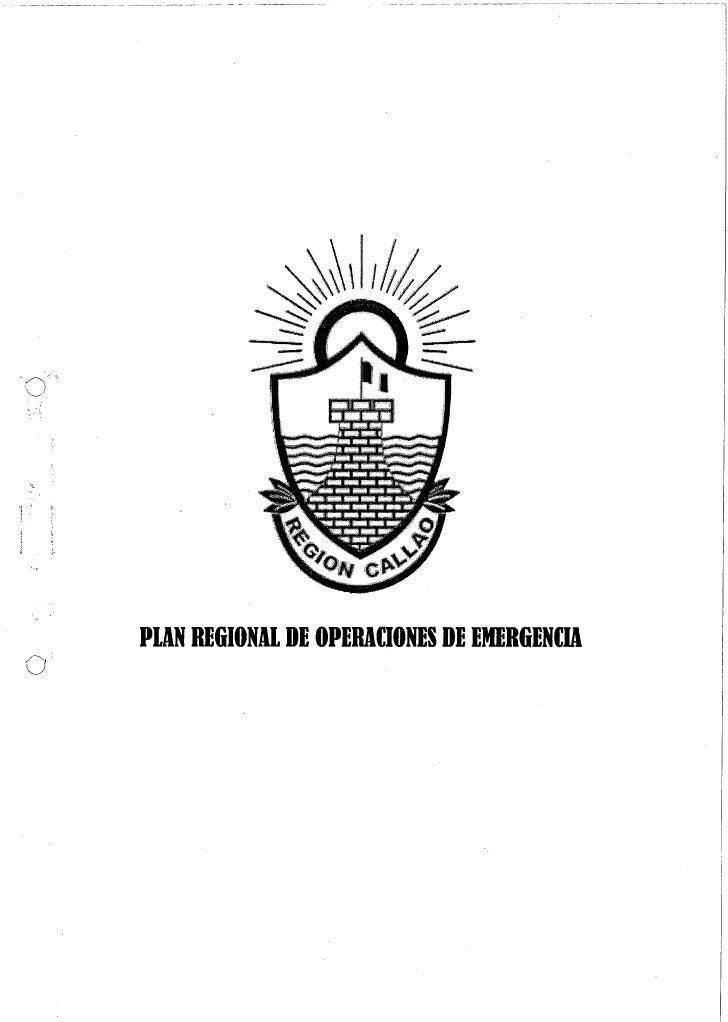 PLAN REGIONAL DE OPERACIONES DE EMERGENCIA - REGIÓN CALLAOPoe regional callao