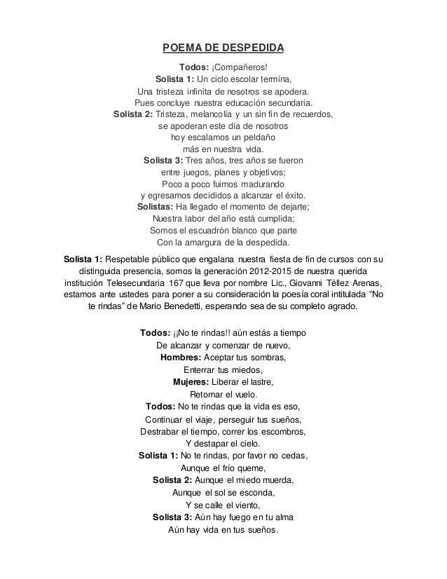 Poemas De Despedida A La Escuela Secundaria