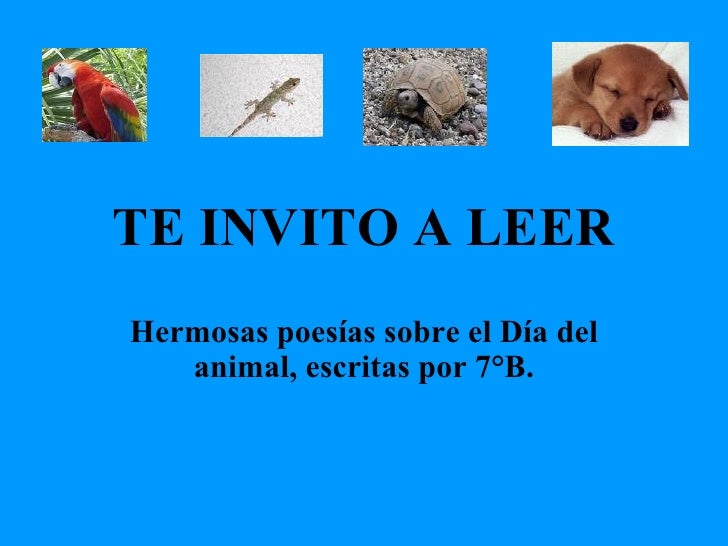 TE INVITO A LEER Hermosas poesías sobre el Día del animal, escritas por 7°B.