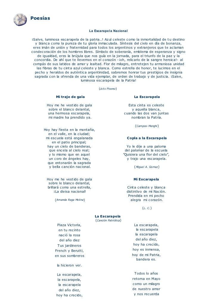 Poesías La Escarapela Nacional¡Salve, luminosa escarapela de la