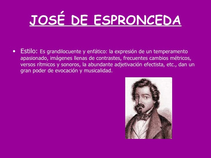 Poesia romántica y José de Espronceda