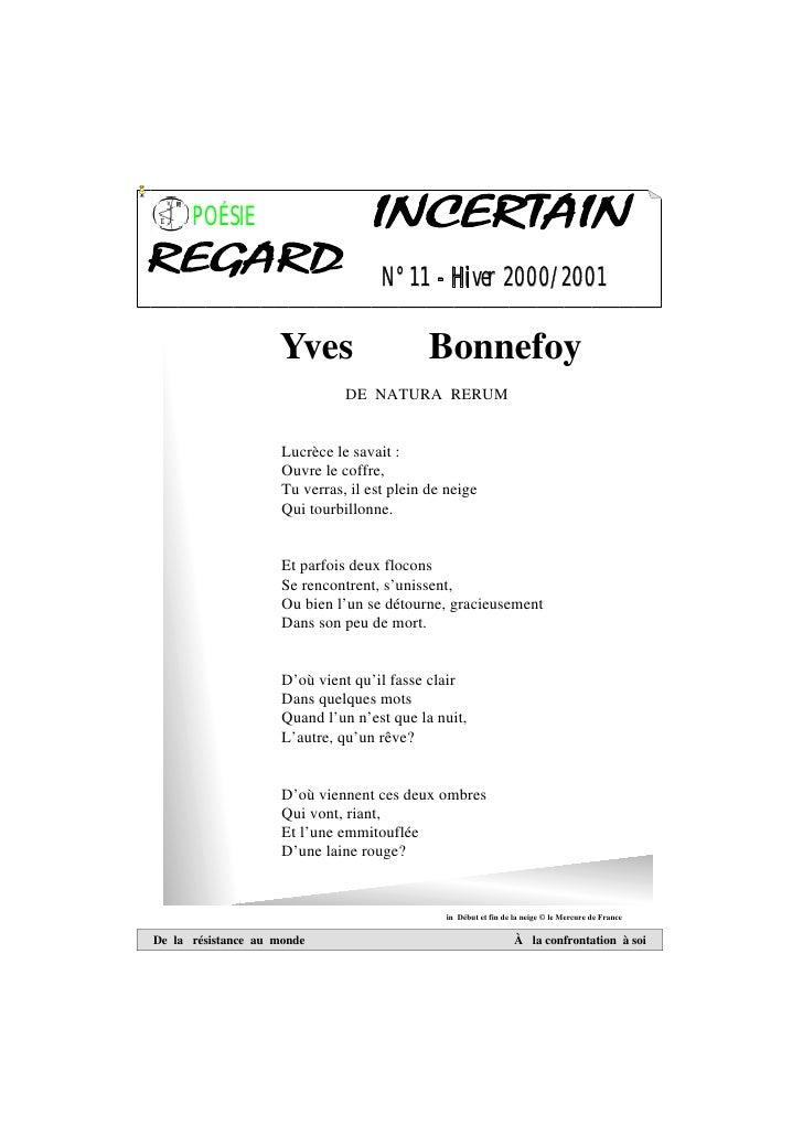 POÉSIE                                     N°11 - Hiver 2000/2001                    Yves                     Bonnefoy    ...