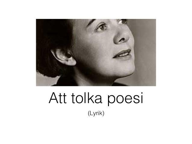Att tolka poesi      (Lyrik)