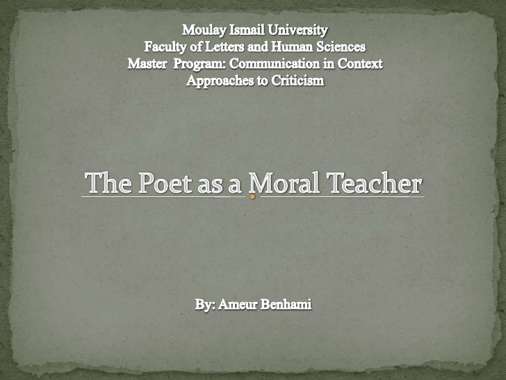 Poet As  Moral  Teacher
