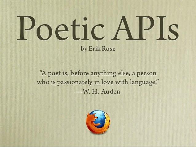 Poetic APIs