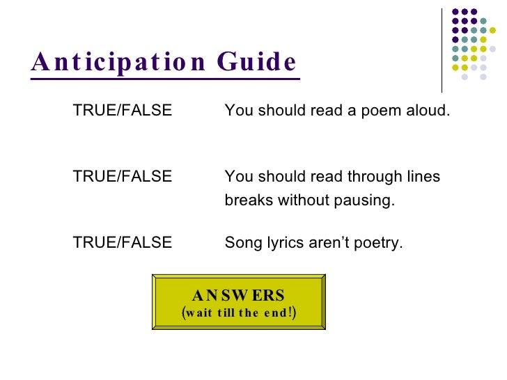 Anticipation Guide <ul><ul><ul><li>TRUE/FALSE You should read a poem aloud.  </li></ul></ul></ul><ul><ul><ul><li>TRUE/FALS...
