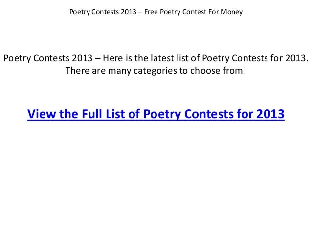 Poetry Contests 2013 – Here is the latest list of Poetry Contests for 2013.There are many categories to choose from!Poetry...