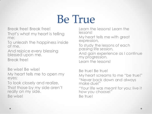 Learn the lessons Be true   Poems About Life Lessons Learned