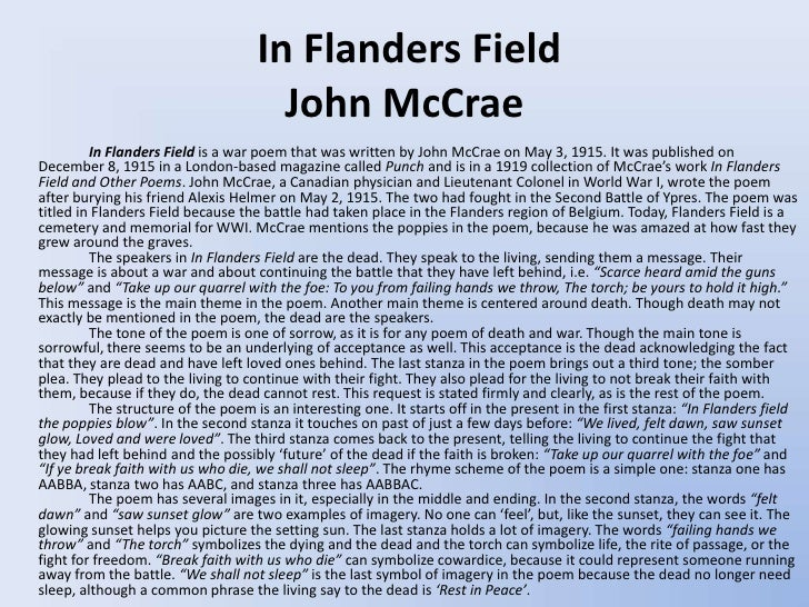 in flanders fields paper In flanders fields courtesy of bee macguire i wish i could embody on paper some of the varied sensations of that seventeen days.