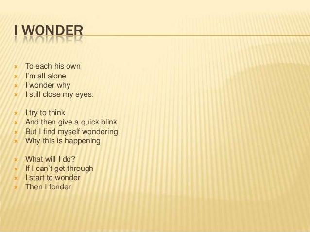Image Gallery i wonder poem