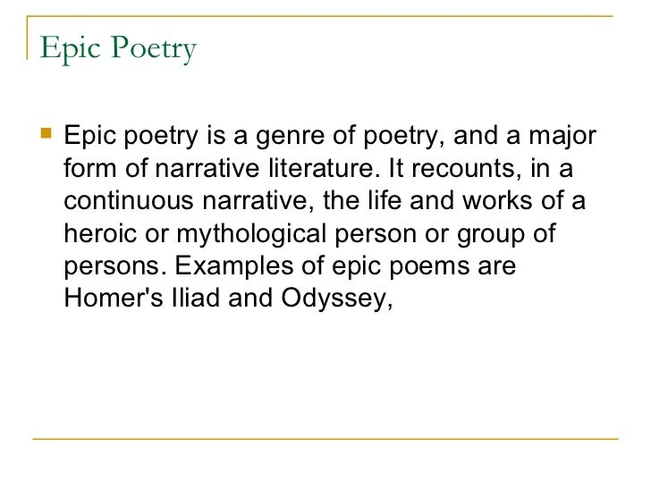 epic poetry Mock epic is the imitation of epic but in such a manner that creates humour each and every elements of epic are used in mock epic in trivial nature.