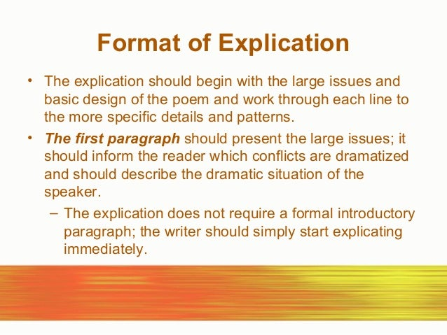 explication essay outline 2015-03-23  essay outline/plan service  explication of a poem by robert frost english literature essay print reference  if you are the original writer of this essay and no longer wish to have the essay published on the uk essays.