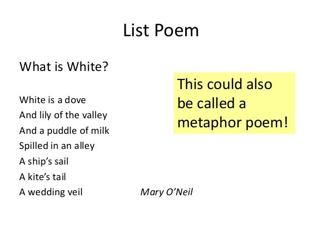 an analysis of the use of metaphors in poems Use the guidelines below to learn how to read a poem and this question throughout your analysis push yourself to there metaphors in the poem.
