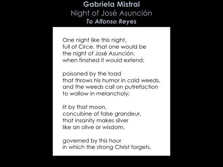 Gabriela Mistral fear poem