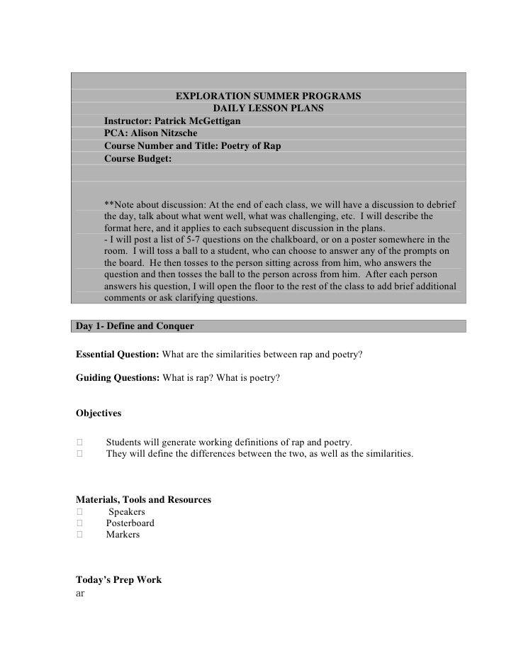 EXPLORATION SUMMER PROGRAMS                               DAILY LESSON PLANS       Instructor: Patrick McGettigan       PC...
