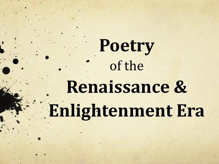 Poetry of the Renaissance & Enlightenment Era