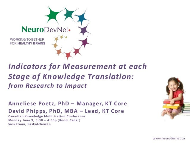 www.neurodevnet.ca WORKING TOGETHER FOR HEALTHY BRAINS Indicators for Measurement at each Stage of Knowledge Translation: ...