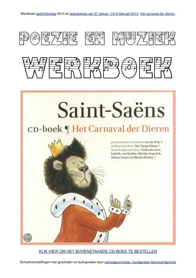 Poezie en muziek werkboek over het carnaval der dieren van schoolgoochelaar aarnoud agricola in utrecht