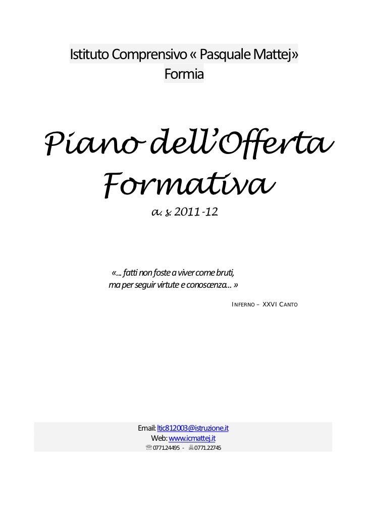 IstitutoComprensivo«PasqualeMattej»                 Formia                                          Piano dell'Off...