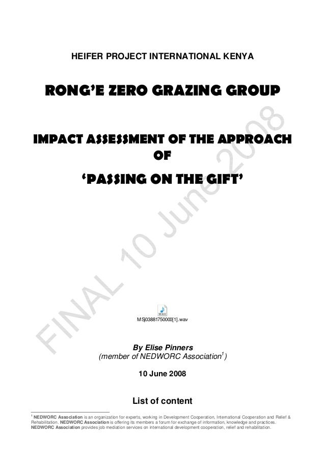 Impact Assessment of the Approach of 'Passing On The Gift'