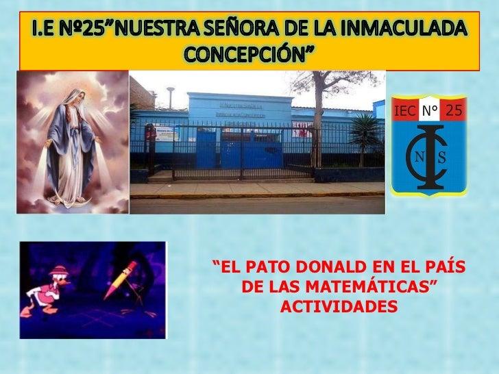 """"""" EL PATO DONALD EN EL PAÍS DE LAS MATEMÁTICAS"""" ACTIVIDADES"""