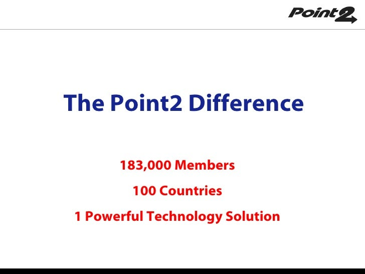 The Point2 Difference 183,000 Members 100 Countries 1 Powerful Technology Solution