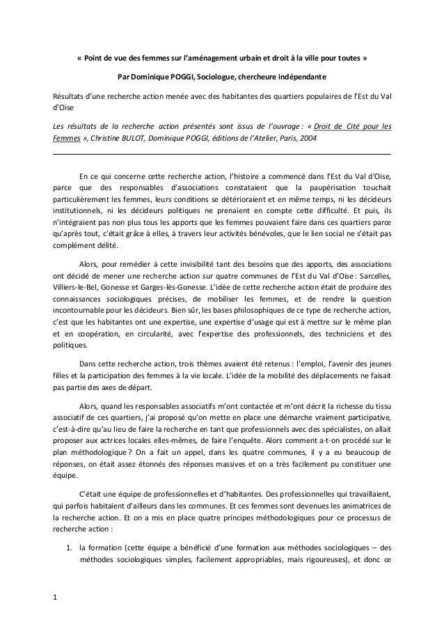 1 « Point de vue des femmes sur l'aménagement urbain et droit à la ville pour toutes » Par Dominique POGGI, Sociologue, ch...