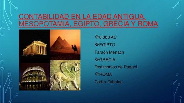 CONTABILIDAD EN LA EDAD ANTIGUA,  MESOPOTAMIA, EGIPTO, GRECIA Y ROMA  6,000 AC  EGIPTO  Faraón Menach  GRECIA  Testimon...