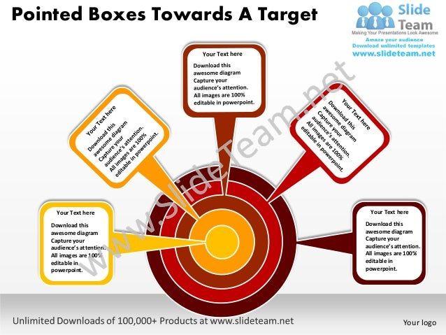 Pointed boxes towards a target powerpoint templates 0812