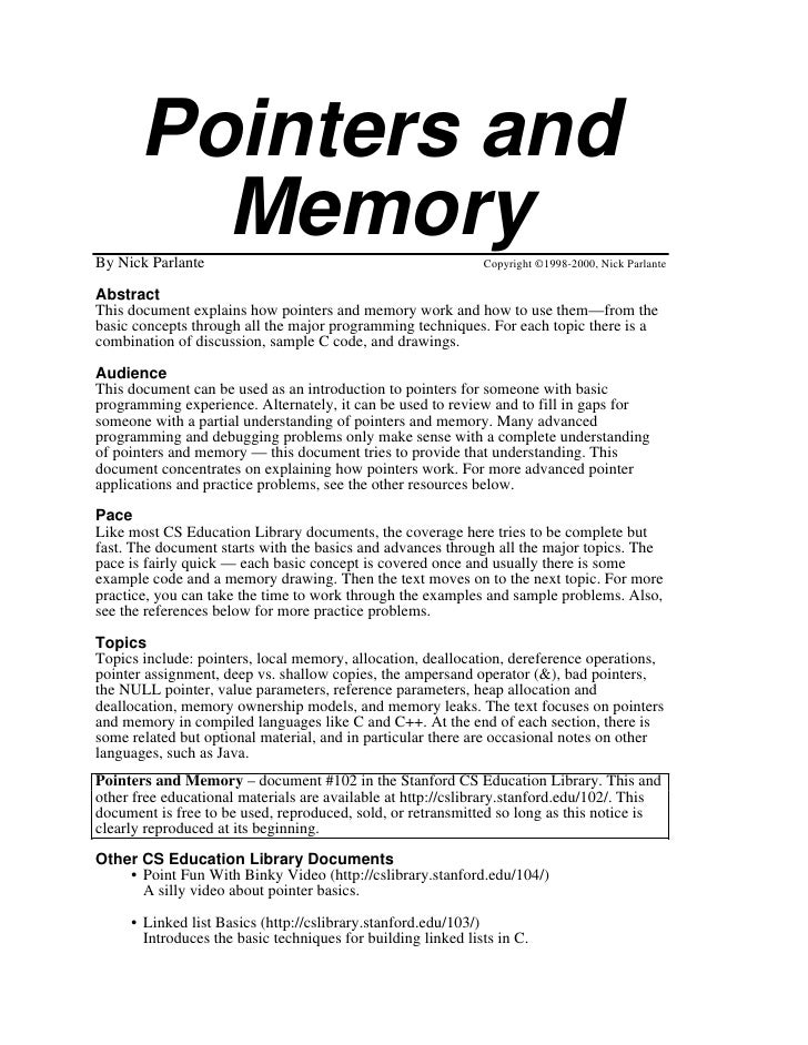 Pointers and          Memory By Nick Parlante                                              Copyright ©1998-2000, Nick Parl...