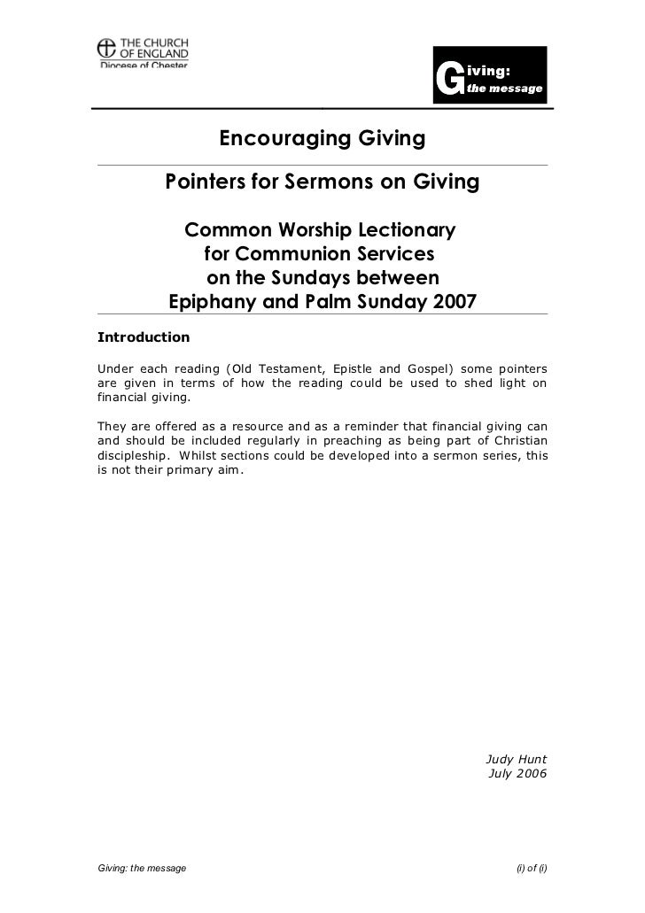 Pointers for sermons on giving