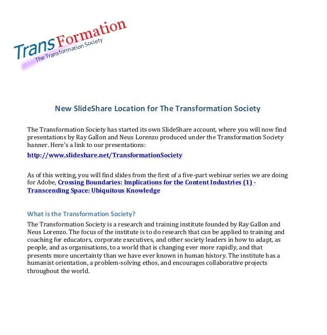 Transformation Society Announcement