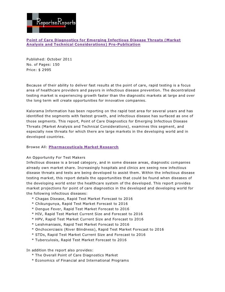 Point of Care Diagnostics for Emerging Infectious Disease Threats (MarketAnalysis and Technical Considerations) Pre-Public...