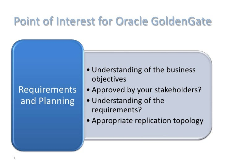 Point of Interest for Oracle GoldenGate                   • Understanding of the business                     objectives  ...