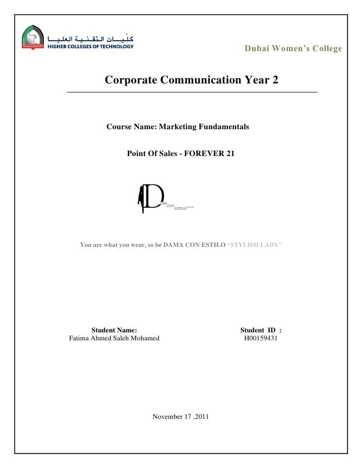 Dubai Women's College          Corporate Communication Year 2          Course Name: Marketing Fundamentals                ...