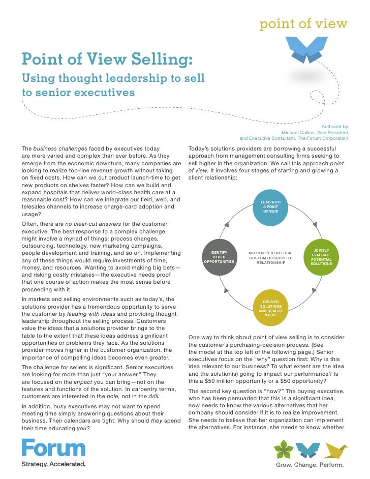 point of viewPoint of View Selling:Using thought leadership to sellto senior executives                                   ...