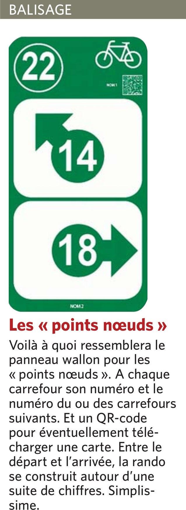 Les « points nœuds » Voilà à quoi ressemblera le panneau wallon pour les « points nœuds ». A chaque carrefour son numéro e...