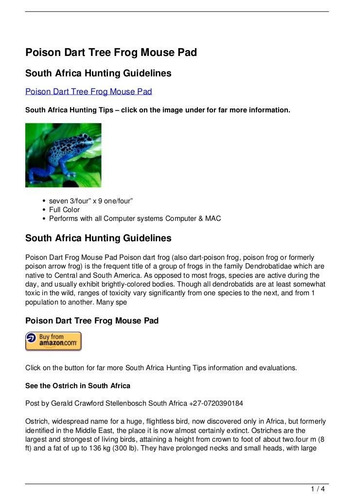 Poison Dart Tree Frog Mouse PadSouth Africa Hunting GuidelinesPoison Dart Tree Frog Mouse PadSouth Africa Hunting Tips – c...