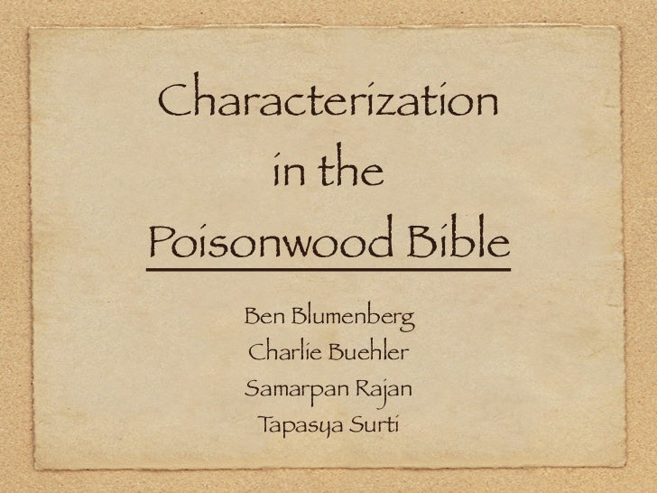 poisonwood bible research paper Poisonwood bible: missionary work this research paper poisonwood bible: missionary work and other 64,000+ term papers, college essay examples and free essays are available now on reviewessayscom.