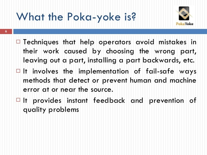 introduction to the poka yoke method