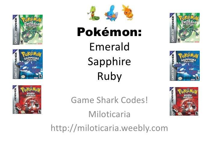 Pokemon emerald sapphire ruby gameshark codes