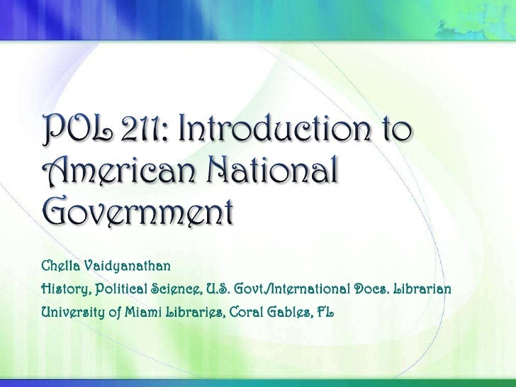 POL 211: Introduction to American National Government