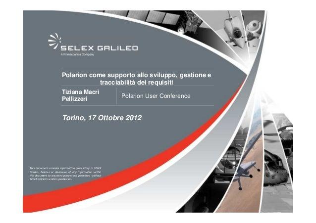 Polarion Conf 2012 - Polarion a supporto di sviluppo, gestione e tracciabilità dei requisiti - Selex Galileo